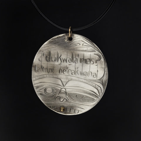 Transformation of Language - Silver Pendant with 14k Gold