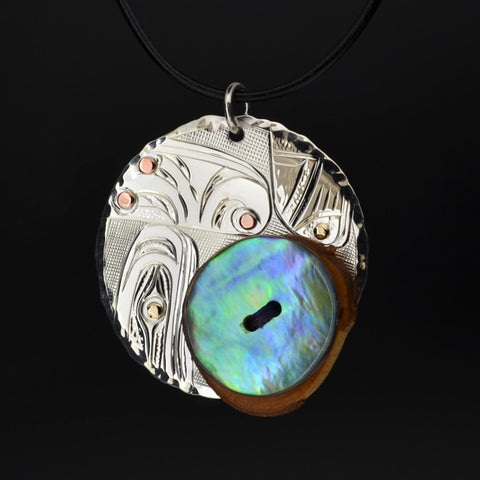 Transformation of Materials - Silver Pendant with 14k Gold, Copper, Abalone, Wood