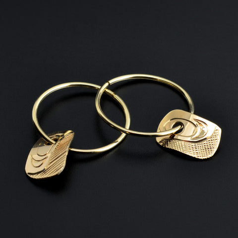 Wing - 14k Gold Hoop Earrings