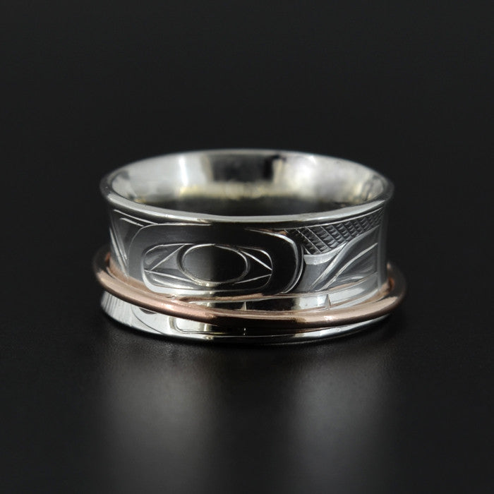 Wolf and Eagle - Silver Ring with 14k Rose Gold