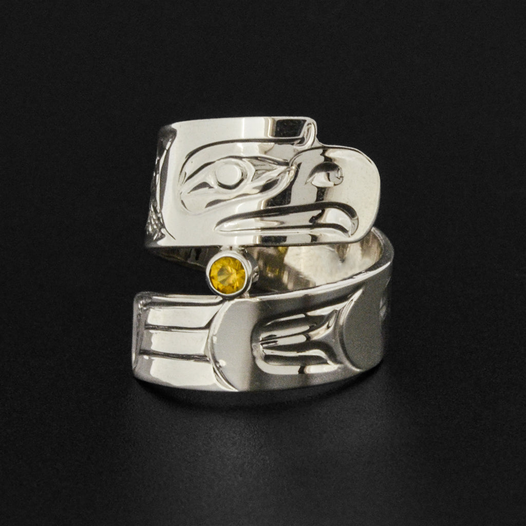 Eagle - Silver Ring with Citrine