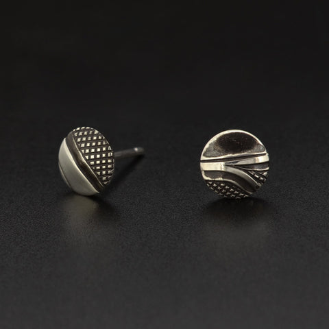 Abstract - Silver Stud Earrings