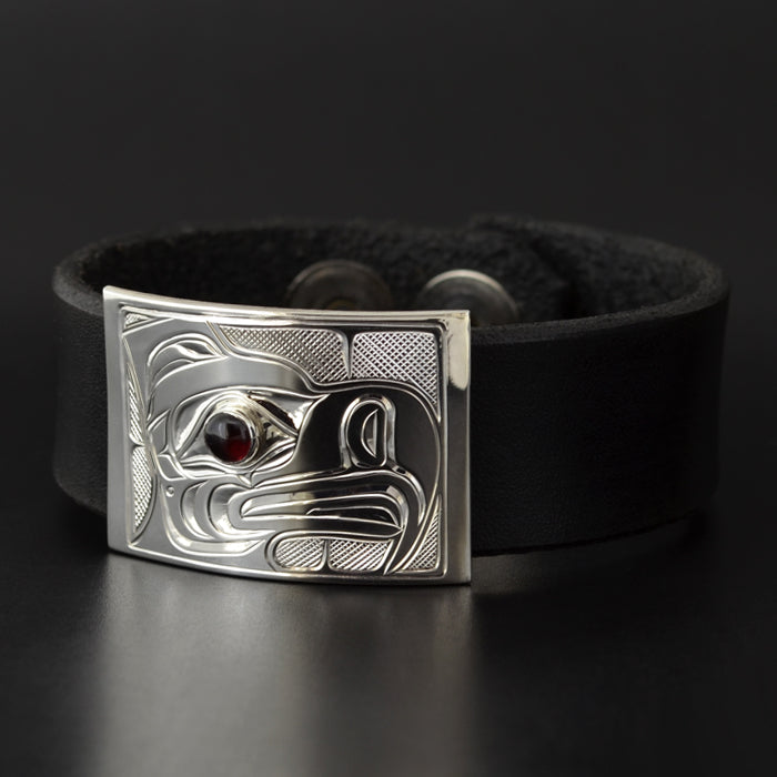 Eagle - Leather and Silver Bracelet
