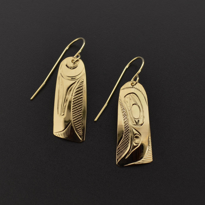 Raven and Wing - 14k Gold Earrings