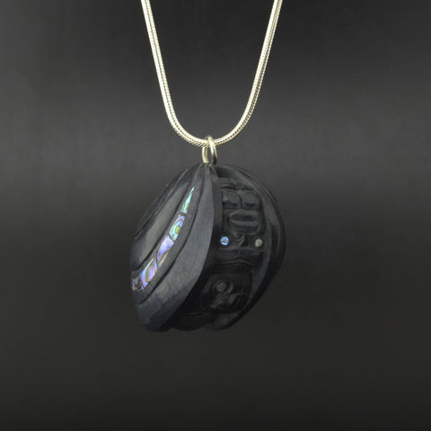 First Men - Argillite Pendant with Abalone Inlays