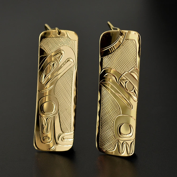 Eagle and Raven - 14k Gold Earrings
