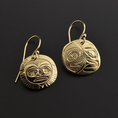 Sun and Moon - 14k Gold Earrings