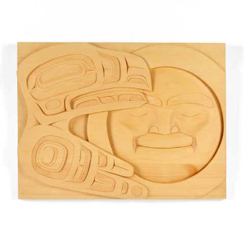 Raven and the Moon - Yellow Cedar Panel