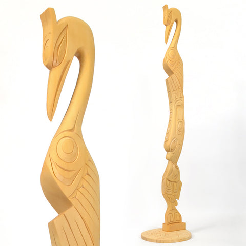 Heron, Seal, Salmon and Frog - Yellow Cedar Sculpture