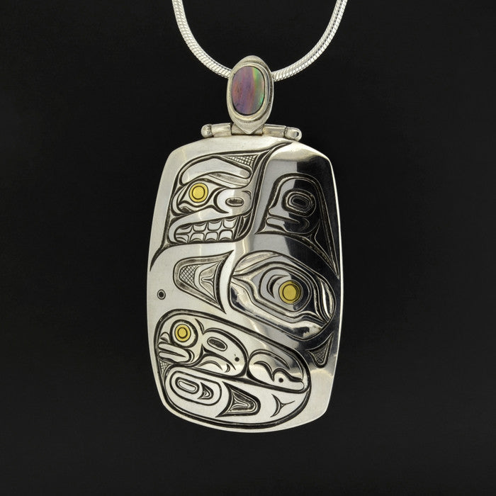 Eagle and Frog - Silver Pendant with Abalone and 23k Gold