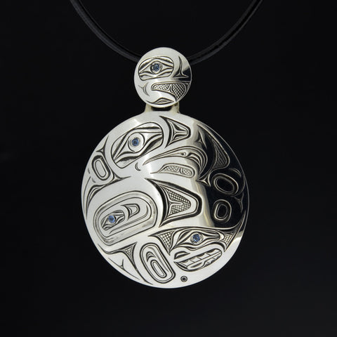 Eagle into Raven - Silver Pendant with Sapphires