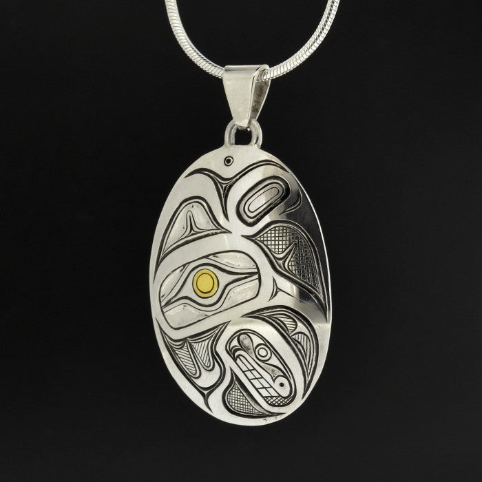 Hummingbird - Silver Pendant with 23k Gold