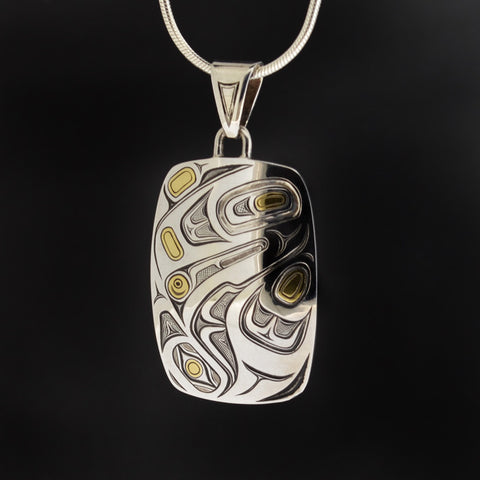 Raven and the Light - Silver Pendant with 23k Gold Inlay
