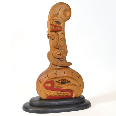 Shaman Riding Mythical Killerwhale - Alder Sculpture
