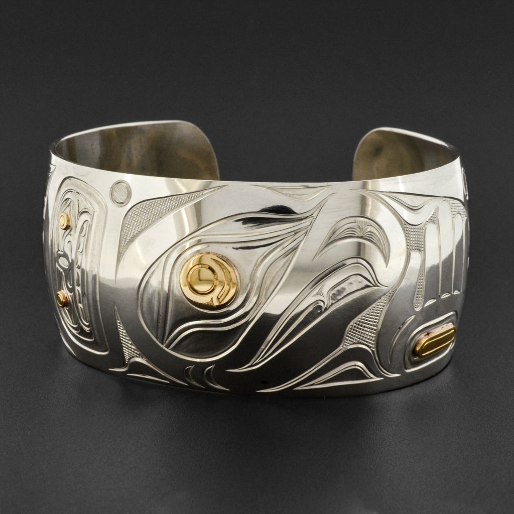 Salmon - Silver Bracelet with 14k Gold