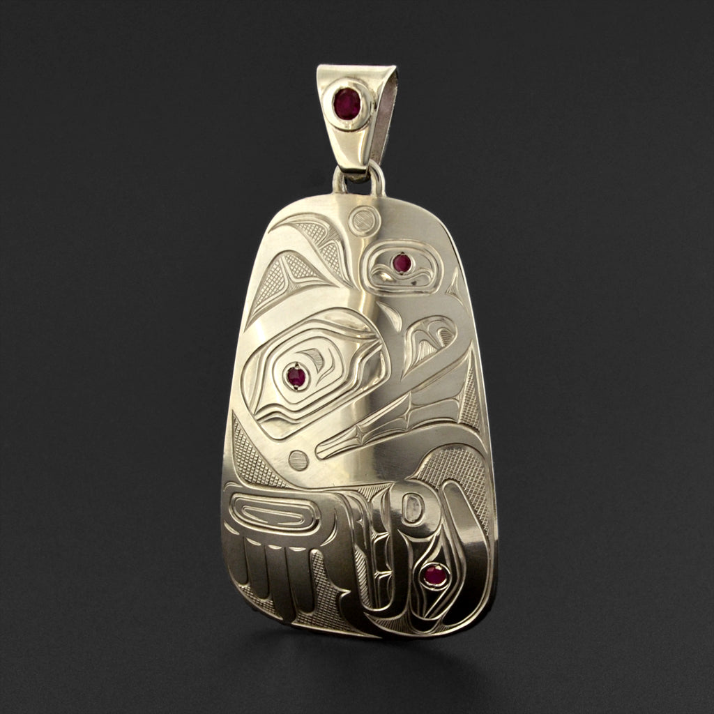 Wolf - Silver Pendant with Ruby