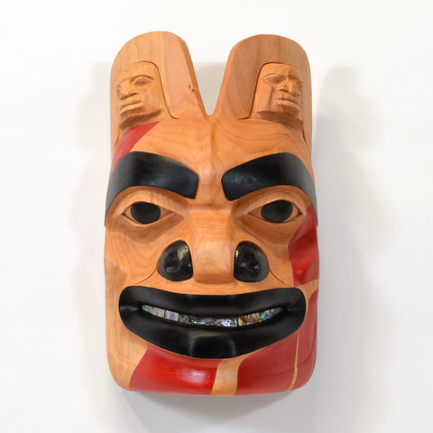 Red Grizzly Bear - Alder Mask with Abalone