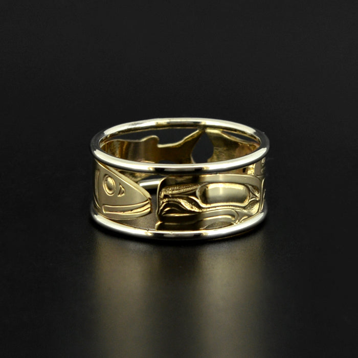 Frog and Eulachon - 14k Gold Ring