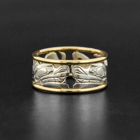 Orca and Wolf - Silver Ring with 18k Gold