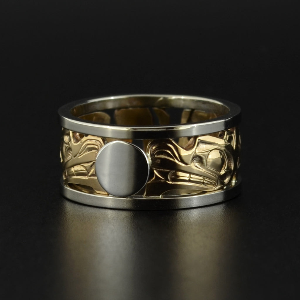 Wolves and Moon - 14k Gold Ring