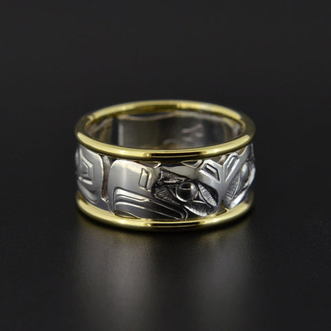 Eagles - Silver Ring with 14k Gold Rails