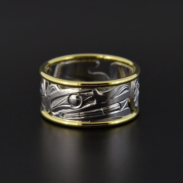 Wasco - Silver Ring with 14k Gold Rails