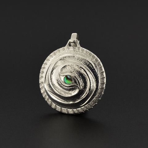 Eye of the Storm - Repoussé Silver Pendant with Abalone