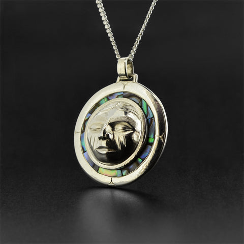 Moon - Silver Pendant with Abalone