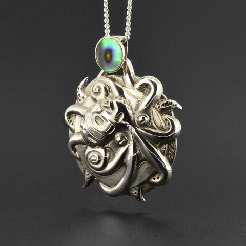 Dzunukwa Fighting Octopus - Silver Pendant