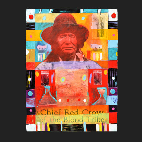 Chief Red Crow of the Blood Tribe - Mixed Media on Paper