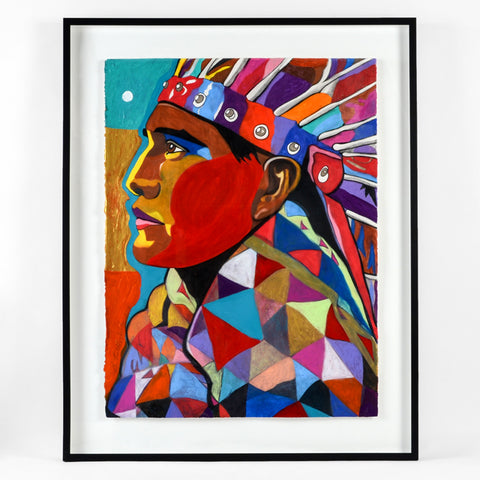 Kwagulth Johnny Wears A Plains Cree Head Dress - Mixed Media on Paper