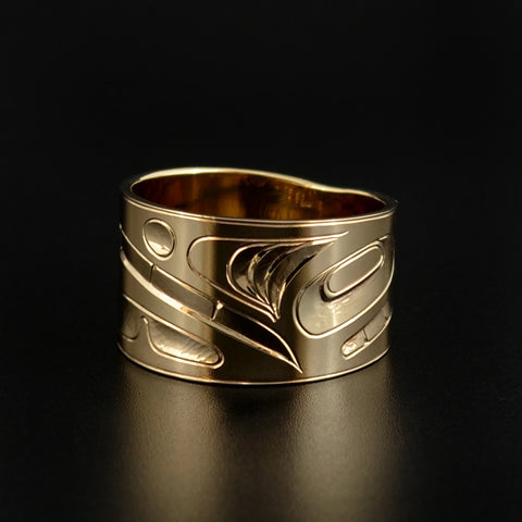 Raven-Finned Killerwhale - 14k Gold Ring