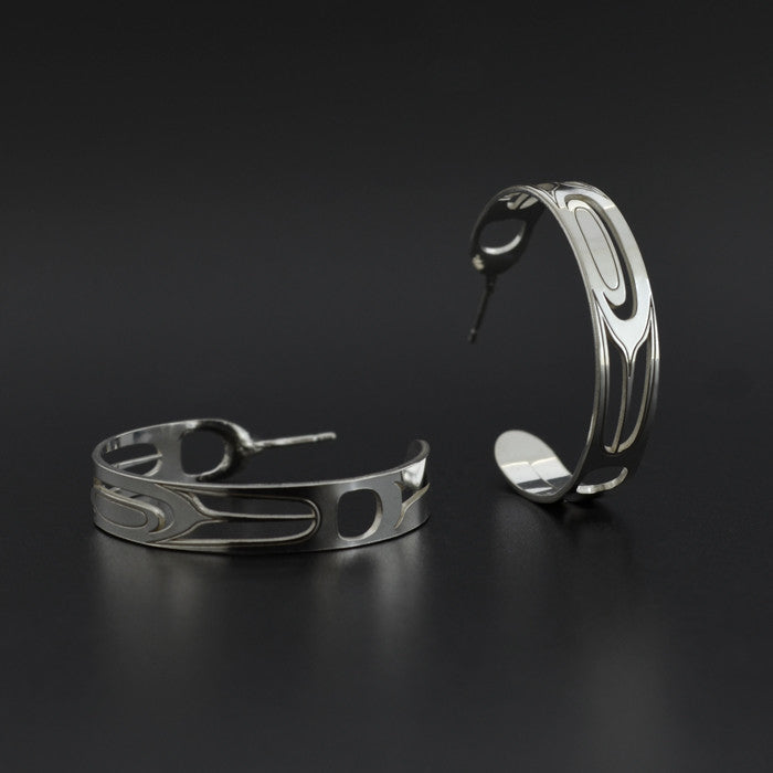 Feather - Silver Hoop Earrings