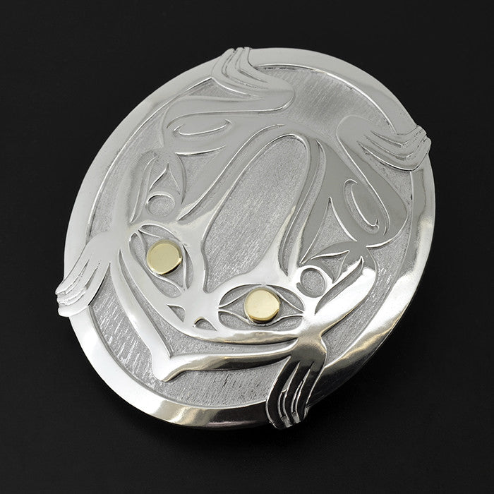 Frog - Silver Belt Buckle with 18k Gold