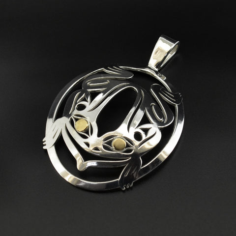 Frog - Silver Pendant with 18k Gold