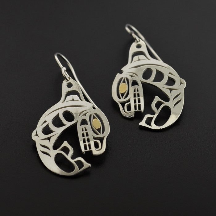 Killerwhales - Silver Earrings with 18k Gold Overlay