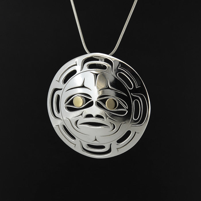 Moon - Silver Pendant with 18k Gold