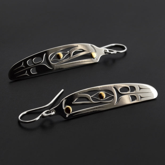 Raven and the Light - Silver Earrings with 18k Gold
