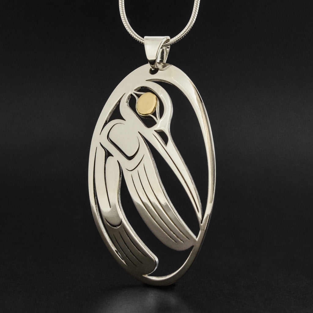 Hummingbird - Silver Pendant with 18k Gold