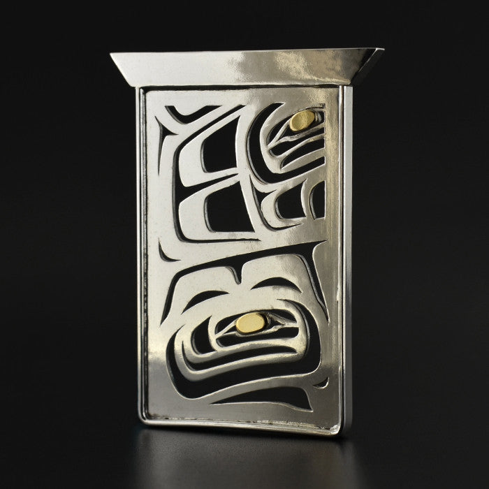 Raven Box - Silver Pendant with 18k Gold