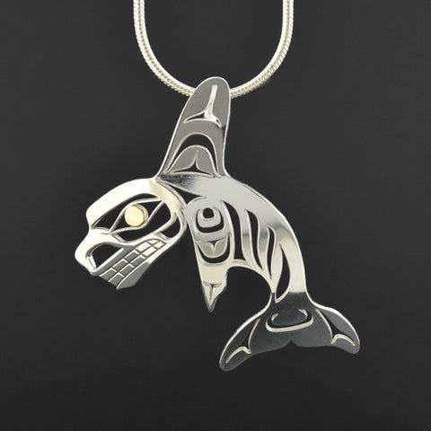 Killerwhale - Silver Pendant with 18k Gold