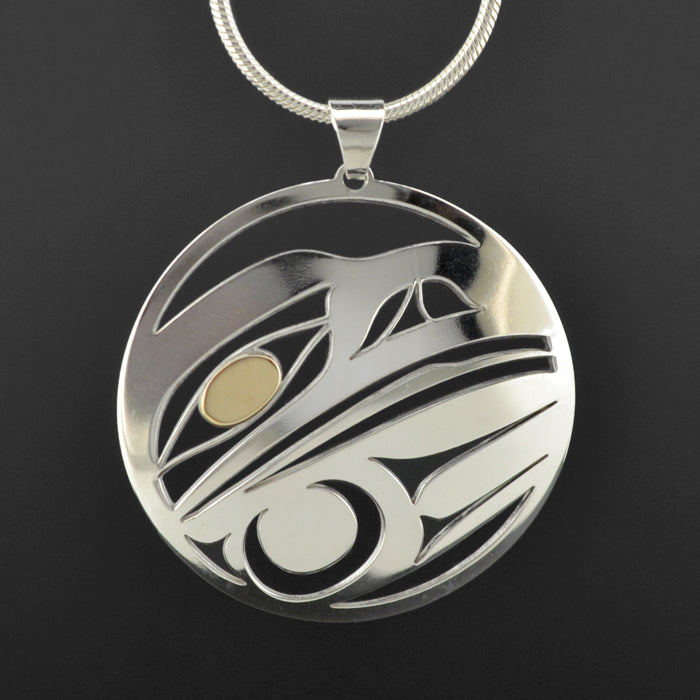Raven - Silver Pendant with 18k Gold