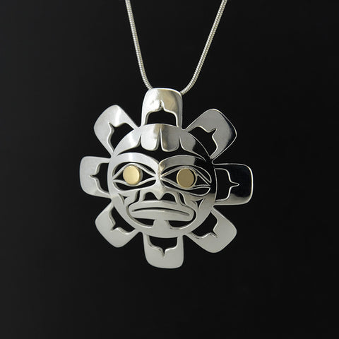 Sun - Silver Pendant with 18k Gold