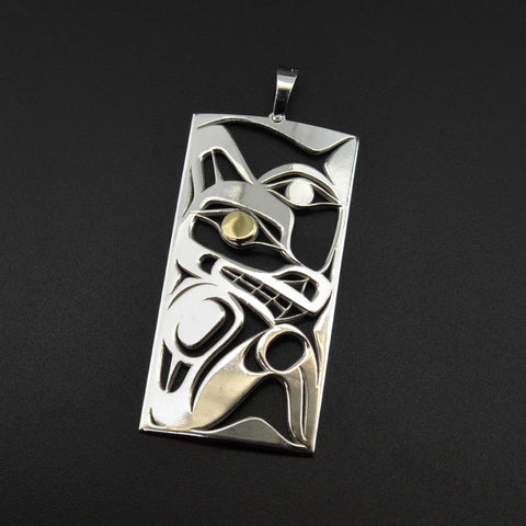 Wolf and Moon - Silver Pendant with 18k Gold Overlay