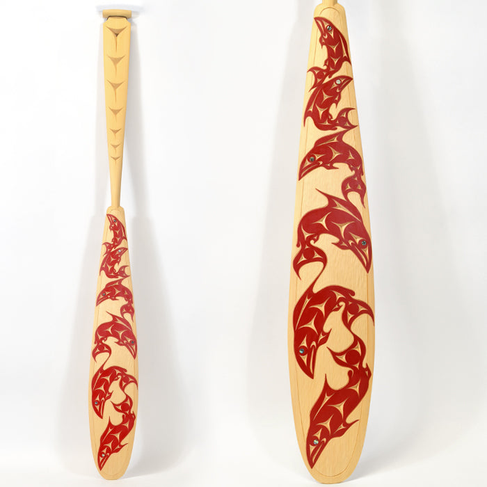 Salmons' Home Coming - Yellow Cedar Paddle with Abalone