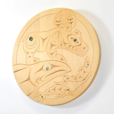 Bear Welcomes Salmon Home - Yellow Cedar Panel with Abalone