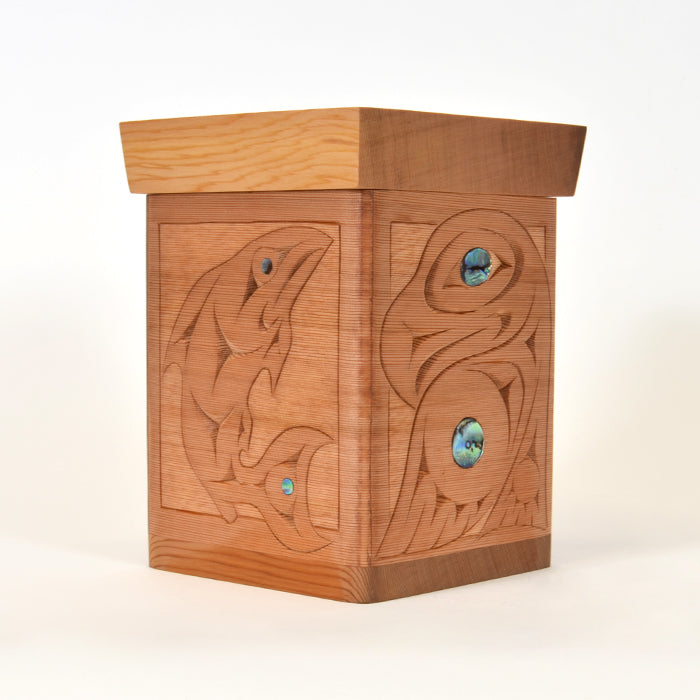 Guardians of the Salmon - Bentwood Box with Abalone