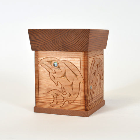 Salmon's Home Coming - Bentwood Box with Abalone Inlays