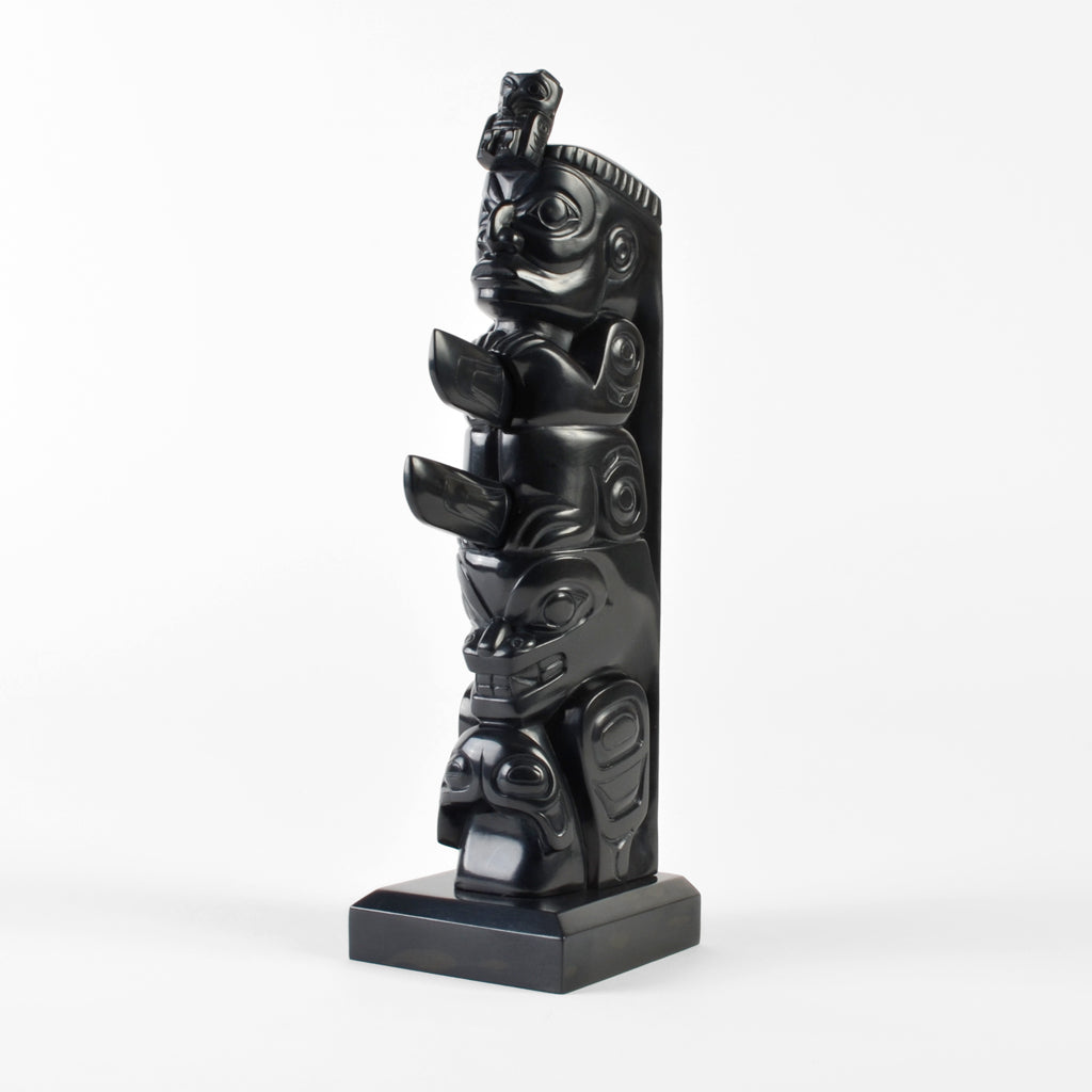 Gunar and Two-Finned Killerwhale - Argillite Pole