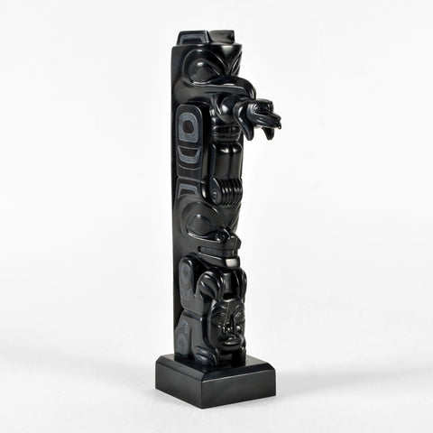 Raven, Frog and Bear - Argillite Pole
